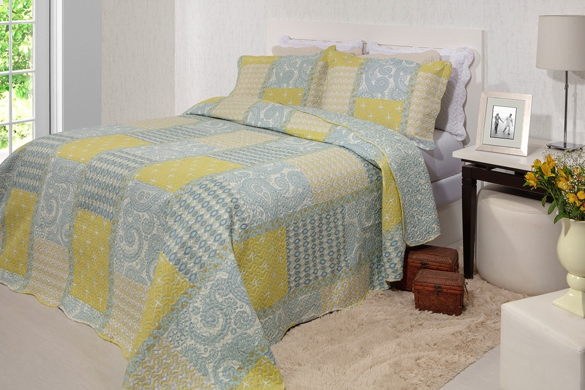 Kit Colcha Patchwork Queen Inter Home Rozac Cassia