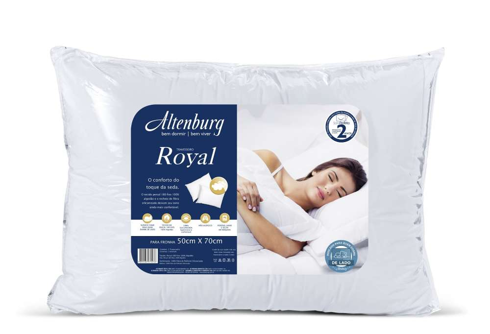 Travesseiro Altenburg Percal 180 Fios Royal 50 cm x 70 cm